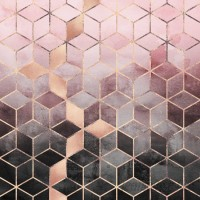 Wade Logan 'Pink and Gray Cubes' Graphic Art Print on Canvas WDLN1837