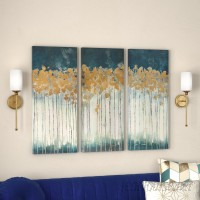 Willa Arlo Interiors 'Midnight Forest' Gel Coat Canvas Wall Art with Gold Foil Embellishment 3-Piece Set WRLO7263