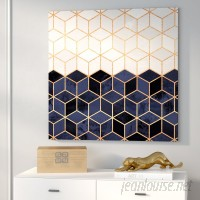 Willa Arlo Interiors 'White and Navy Cubes' Graphic Art on Wrapped Canvas WRLO7650