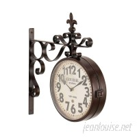 Fleur De Lis Living Candor Rustic Central Station Vintage Double Sided Wall Clock FDLL6880