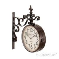 Fleur De Lis Living Candor Rustic Central Station Vintage Double Sided Wall Clock FDLL6880