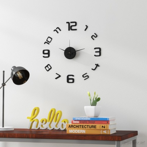 Latitude Run Skelton 3D Frameless Wall Clock in Black LDER6100