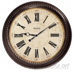 "World Menagerie 20"" Brown Round Marbled Case Roman Numeral Wall Clock WLDM7315"
