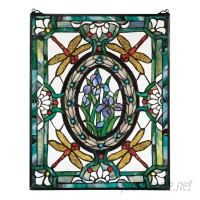 Design Toscano Dragonfly Floral Stained Glass Window TXG5175