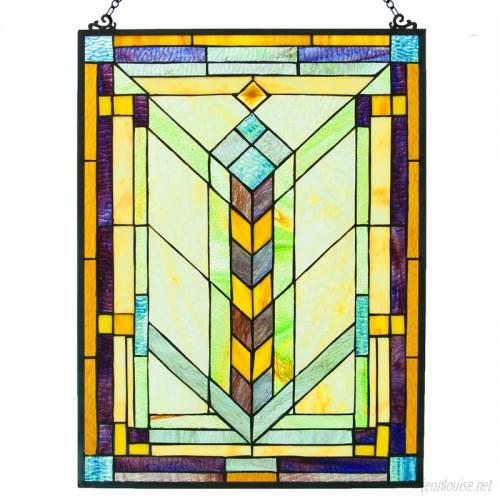 Fleur De Lis Living Stained Glass Geometric Window Panel FDLV3135