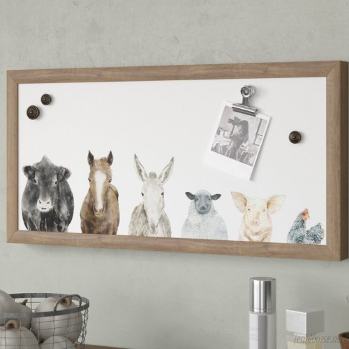 Gracie Oaks Farm Animals Wall Mounted Magnetic Board GRCS4399