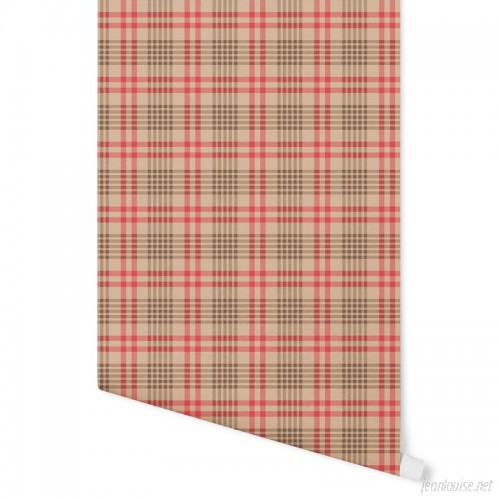 August Grove Hinshaw Milk and Cookies Plaid 4' L x 24 W Peel and Stick Wallpaper Panel NDN14897