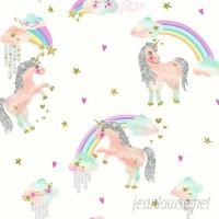 Arthouse Rainbow Unicorn 31.5' x 21.5 Glitter Wallpaper Roll AHOU1072