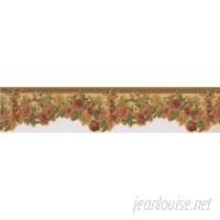 "Astoria Grand Kress Roses Retro Design 15' L x 5"" W Floral and Botanical Wallpaper Border ARGD7525"