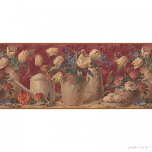 August Grove Billups Tulips in Pots Extra Wide Retro Design 15' L x 10.25'' W Floral and Botanical Wallpaper Border AGTG8376