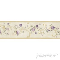 "Brewster Home Fashions Borders by Chesapeake Betty Tearose Acanthus Trail 15' x 6"" Floral 3D Embossed Border Wallpaper BZH3469"