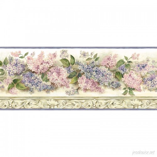 Brewster Home Fashions Borders by Chesapeake Ethel Heirloom Lilacs Trail 15' x 7.75'' Floral 3D Embossed Border Wallpaper BZH3304
