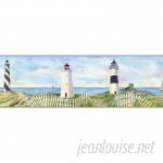 """Brewster Home Fashions Borders by Chesapeake Eugene Coastal Lighthouse Portrait 15' x 9"""" Scenic 3D Embossed Border Wallpaper BZH3425"""
