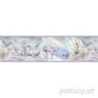 "Brewster Home Fashions Borders by Chesapeake Farewell Unicorn Dreams Portrait 15' x 7"" Wildlife 3D Embossed Border Wallpaper BZH3504"