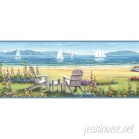 Brewster Home Fashions Borders by Chesapeake Regatta Seaside Cottage Portrait 15' x 8 Scenic 3D Embossed Border Wallpaper BZH3395
