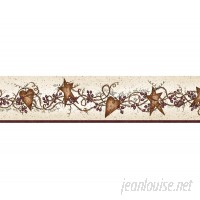 "Brewster Home Fashions Borders by Chesapeake Sassafras Curly Stars Trail 15' x 4.75"" Floral and Botanical 3D Embossed Border Wallpaper BZH3461"