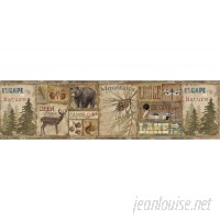 "Brewster Home Fashions Echo Lake Lodge Attitash Deer Camp 15' x 6"" Wildlife Border Wallpaper BZH5171"