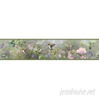 Brewster Home Fashions Outdoors Ruby Hummingbird Garden 15' x 6 Floral 3D Embossed Border Wallpaper BZH3653