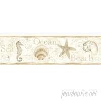 "Brewster Home Fashions Sand Dollar Island Bay Seashells 15' x 6.83"" Scenic 3D Embossed Border Wallpaper BZH3808"