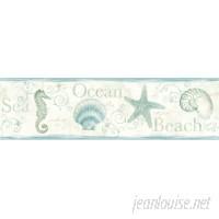 Brewster Home Fashions Seaside Living Island Bay 15' x 6.83 Seashells Wallpaper Border BZH8817