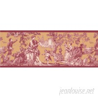 Ophelia Co. Susann Village Family Kids Playing Rooster Sheep Vintage Mustard 15' L x 9.5'' W Wallpaper Border OPCO5980