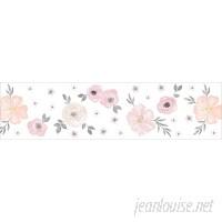 Sweet Jojo Designs Watercolor Floral 15' L x 6 W Matte Wallpaper Border JJD7396