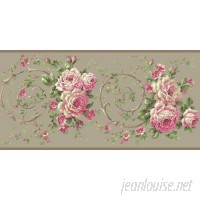 York Wallcoverings Casabella II Rose Floral and Botanical 15' L x 10 W Wallpaper Border WHW2496