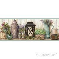 "York Wallcoverings Country Keepsakes Garden 15' x 9"" Floral and Botanical Border Wallpaper DOQ1789"