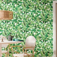 Bay Isle Home Howard Palm Leaf 16.5' L x 20.5 W Floral and Botanical Peel and Stick Wallpaper Roll BYIL4148