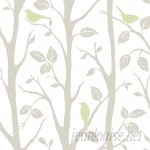 WallPops! Grey and Green Sitting In A Tree Peel And Stick Wallpaper WPP1811