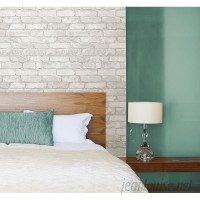 """WallPops! Grey and White 18' x 20.5"""" Brick Peel And Stick Wallpaper Roll WPP1622"""
