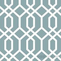 "WallPops! Nu 18' x 20.5"" Montauk Lattice Hemlock Blue Peel and Stick Wallpaper WPP2157"