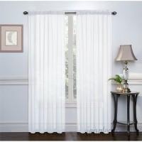 Charlton Home Emmons Sheer Voile Solid Sheer Rod Pocket Curtain Panels CHRL7291