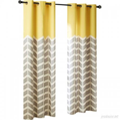 Ebern Designs Gilkes Chevron Room Darkening Grommet Curtain Panels EBRD5178