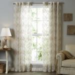Lark Manor Lirette Damask Sheer Grommet Single Curtain Panel LRKM3923