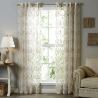 Lark Manor Lirette Damask Sheer Grommet Single Curtain Panel LRKM3923