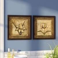Andover Mills 'Tulip Bronze' 2 Piece Framed Acrylic Painting Print Set on Glass ANDV2035