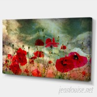 DesignArt 'Wild Red Poppy Flowers in Sky' Graphic Art on Wrapped Canvas DOSK4186