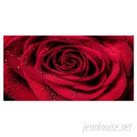 DesignArt Red Rose Petals with Rain Droplets Floral Photographic Print on Wrapped Canvas ESIG9440