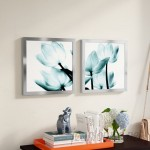 Latitude Run 'Translucent Tulips II Sq Aqua Crop' 2 Piece Framed Graphic Art Print Set LTTN3520