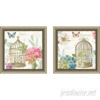 Ophelia Co. 'Rainbow Seeds Floral Birdcage II v2' 2 Piece Framed Graphic Art Print Set OPCO5750