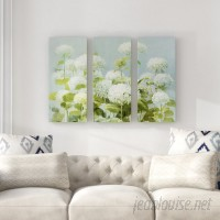 Ophelia Co. 'White Hydrangea Garden' Acrylic Painting Print Multi-Piece Image on Wrapped Canvas OPCO4638
