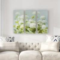 Ophelia Co. 'White Hydrangea Garden' Acrylic Painting Print Multi-Piece Image on Wrapped Canvas OPCO4638