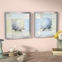 Ophelia Co. Blue Hydrangea' 2 Piece Framed Acrylic Painting Print Set Under Glass OPCO1366