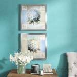 Red Barrel Studio 'Aj Blue Hydrangea' 2 Piece Framed Graphic Art Print Set on Glass RDBT5917