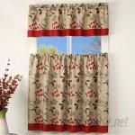 Charlton Home Brouillard Bright Leaves Kitchen Curtain CHRL7287