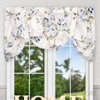 "Ellis Curtain Chatsworth Floral Lined Tie-up 50"" Window Valance EQK1725"