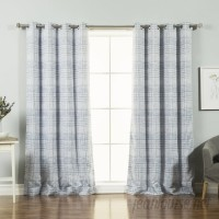 Best Home Fashion, Inc. Sketched Grid Plaid and Check Blackout Thermal Grommet Curtain Panels BEHF1265