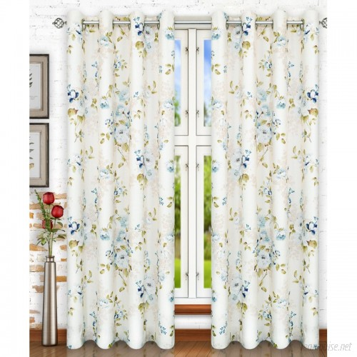 Ellis Curtain Chatsworth Lined Top Nature / Floral Semi-Sheer Grommet Single Curtain Panel EQK1721