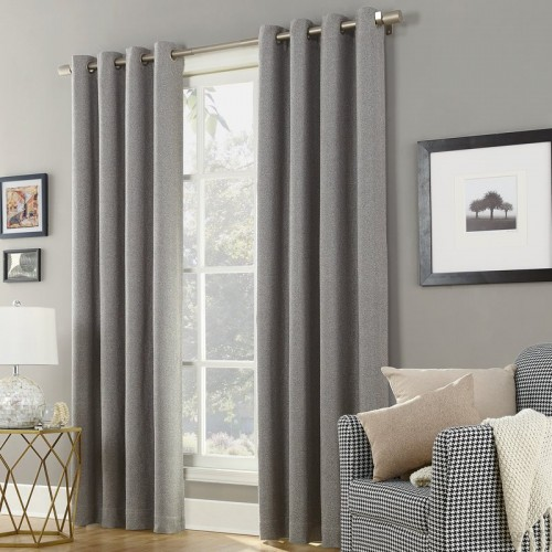 Sun Zero Baxter Home Theater Grade Extreme Solid Max Blackout Thermal Grommet Single Curtain Panel SUNZ1272
